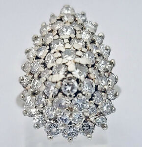 Round Brilliant Cut Diamond 14kt White Gold Teardrop Pear Cluster Ring, $5400