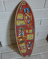 WHAT HAPPENS AT THE BEACH STAYS Rustic Tiki Bar Surfboard Home Decor Sign - NEW