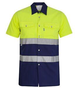 Hi Viz visibility Shirt Workwear short Sleeve Reflective Tape mfg in spain