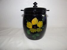 L. E. Smith black w/ painted flower's cookie jar 1937
