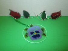 2 LEADED STAINED GLASS FLOWERS AND GLASS FLOWER ORNAMENT