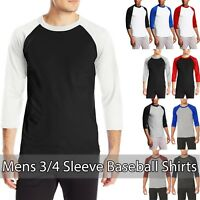Mens Raglan T Shirts Baseball Plain Tee Jersey Team Sports 3/4 Sleeve Casual