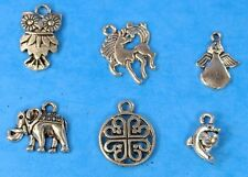 6pcs Tibet Silver Pendants LOT #31 Mixed Crafts Jewelry Making Charms