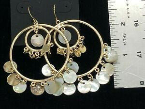 nOir Jewelry Haute Couture Runway Dangle Earrings Mother of Pearl New on Card