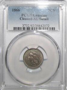 1866 Nickel 3 cents - PCGS AU details