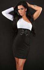 Womens One Shoulder Sexy Long Sleeve Contrast Bodycon Mini Dress size 8 10 12