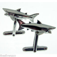 HALLMARKED SILVER SHARK CUFFLINKS.  STERLING SILVER GREAT WHITE SHARK CUFFLINKS