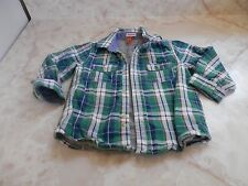 Baby Boy 12 Months Monsieur Green Check Button Down Lined Long Sleeve Shirt