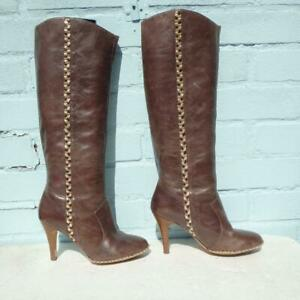 French Connection Leather Boots Uk 4 Eur 37 Womens Pull on FCUK Brown Boots