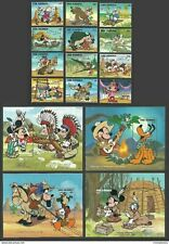 GAMBIA 1995 DISNEY COWBOYS & INDIANS MICKEY & MINNIE SET & 4 M/SHEETS MNH