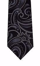 "Alfani Spectrum men neck tie necktie black gray paisley 100% silk skinny 3"" new"