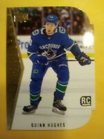 2019 20 UD Tribute Quinn Hughes Rookie Gold Retro SP 94 95 Die cut #5 Vancouver