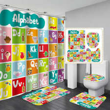 Cartoon Alphabet Door Bath Mat Toilet Cover Rugs Shower Curtain Bathroom Decor
