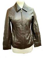 CROWN GATE Leathers Women's Coat UK Size 10 Real Leather Black Biker Jacket