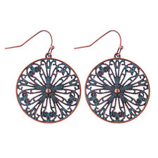 Big Round Bronze Carved Flower Hollow Dangle Gypsy Ethnic Bohemian Earrings