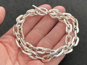 Heavy Sterling Silver Double Link Bracelet