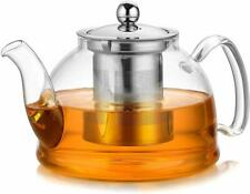 Artcome 1050 ml Glass Teapot with Stainless Steel Infuser & Lid, Stovetop Safe