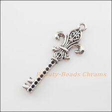 """3Pcs Tibetan Silver Tone """"Fleur de lis"""" Key Charms Pendants 18x48mm"""