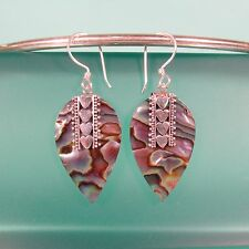 "1 1/4"" Abalone Paua Shell Handmade 925 Solid Sterling Silver Dangle Earrings"