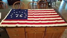 "Vintage USA 13 STAR Bicentennial American 1776 DEFIANCE Cotton Flag 64"" x 35"""