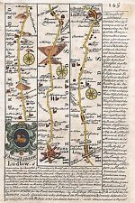 Antique map, Road from Bristol to West Chester