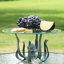 Octopus Cast Iron/Glass Table Server Tray/Candleholder,16''D X 9''H.