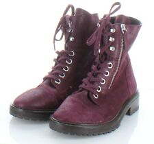 H2 NEW $378 Women's Sz 7 M Paige Marline Leather Combat Boot In Burgundy