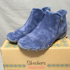SKECHERS BIKER Womens zip up flats navy blue EARTHY CHIC ankle boot size 9 M New