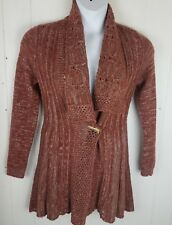 Anthropologie Rosie Neira SMALL Alldays Red Wool Blend Knit Cardigan Sweater