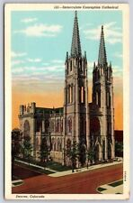 Immaculate Conception Cathedral in Denver, Colorado White Border Postcard New