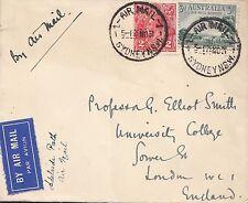 K 1398 Australia 1931 Air Mail  cover to Prof G Elliot Smith in UK; evolution...