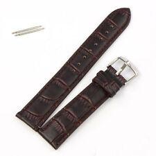 Sale Quality 22mm Coffee Genuine Leather WristWatch Band Men Women 2 Bar& Batt