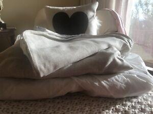 7' SLIPCOVER ONLY Restoration Hardware Belgian Roll Arm Sleeper Sofa Sand 8pc
