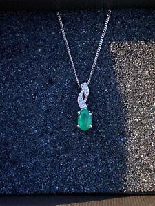 Emerald diamond pendant and chain.9 carat white gold.