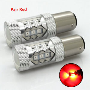 2Pcs 1157 BAY15D Red LED 12V Car Rear Tail Brake Stop Lights Parking Bulbs