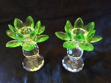 Sorelle Green Glass Lead Crystal Lotus Candle Holder