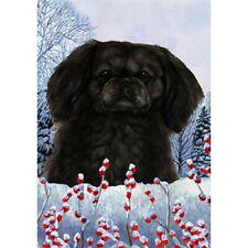 Winter Garden Flag - Black Pekingese 152791