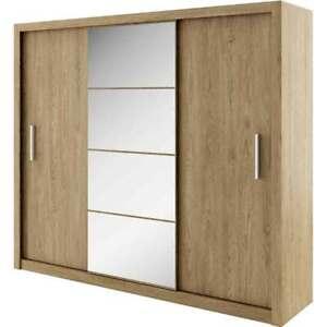 WARDROBE 250cm wide MIRRORED sliding doors bedroom living hallway furniture ID01