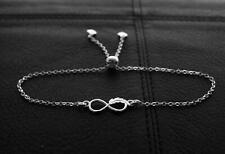 925 Sterling silver Charm Infinity feather Symbol Bracelet  Adjustable Length