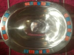 SILVER BOWL INLAY STONE RED GREEN INDIA KITCHEN DINING TABLE PLANT FAIRY GARDEN