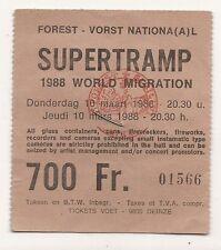 Ancien ticket concert SUPERTRAMP - 10/3/1988  Forest National Bruxelles BELGIUM