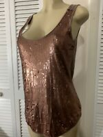EDDIE BAUER Copper Front Sequin Tank Top Women's Large Stretchy Party Top