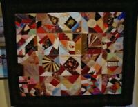 OUTSTANDING ANTIQUE CRAZY QUILT WITH VELVET BORDER LOTS OF NEEDLE WORK 1880