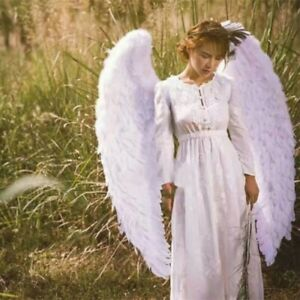 Halloween 3D White Angel Big Feather Wings Cosplay Large Human Child Costume