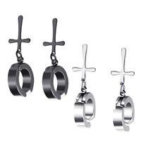 2 paia di orecchini a cerchio finti orecchini unisex in argento nero con
