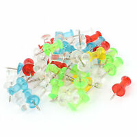 Household Plastic Coated Round Thumb Tacks Push Pins Assorted Color 50Pcs