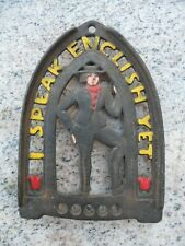 "Vintage Cast Iron Trivet ""I Speak English Yet"" Match Holder Jzh 1952 19 Flat"