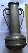 ARTS AND CRAFTS LARGE PEWTER VASE TWO HANDLES HAND HAMMERED FINISH