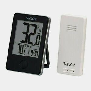 Taylor Wireless Indoor/Outdoor THERMOMETER Sensor Digital LCD Black Plastic 1730
