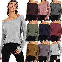 Ladies Off Shoulder T-shirt Long Sleeve Jumper Tops Baggy Pullover Sweatshirt AU